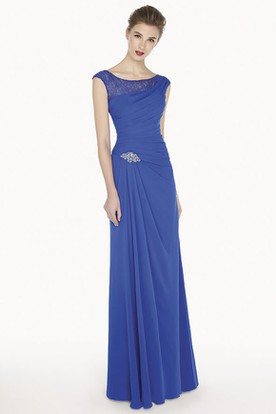 Cap Sleeve A-Line Chiffon Long Prom Dress With Crystal And Lace Neckline