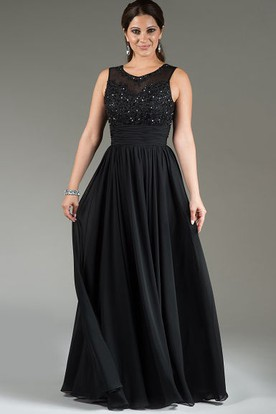 Scoop Neck Applique Top Chiffon Long Mother Of The Bride Dress With Crystal Details
