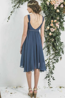 Tea-Length Empire Draped V-Neck Sleeveless Chiffon Bridesmaid Dress