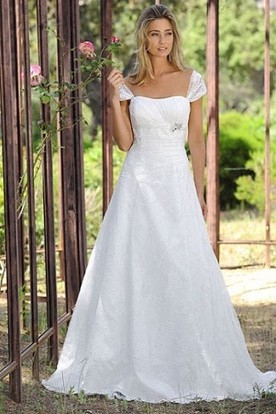 A-Line Cap Sleeve Strapless Ruched Lace Wedding Dress