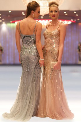 Sheath Floor-Length Spaghetti Sleeveless Beaded Tulle&Sequins Prom Dress