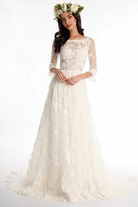bateau long half sleeve lace wedding dress with sweep train and v back