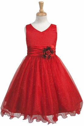 V-Neck Knee-Length Tiered Charmeuse Flower Girl Dress