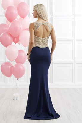 Sheath Long Scoop-Neck Sleeveless Jersey Keyhole Dress With Beading