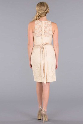 Short Scoop Lace Bridesmaid Dress With Illusion