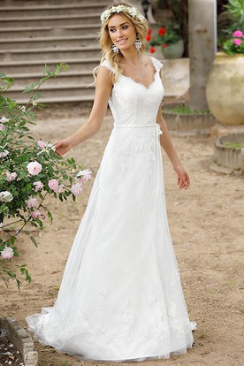 A Line V Neck Cap Sleeve Lace Wedding Dress With Illusion