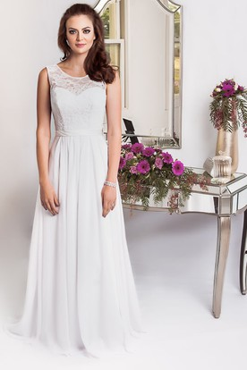 Sheath Scoop-Neck Sleeveless Floor-Length Jeweled Chiffon Plus Size Wedding Dress With Appliques And Corset Back