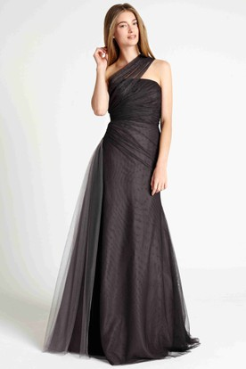 Floor-Length One-Shoulder Sleeveless Ruched Tulle Bridesmaid Dress