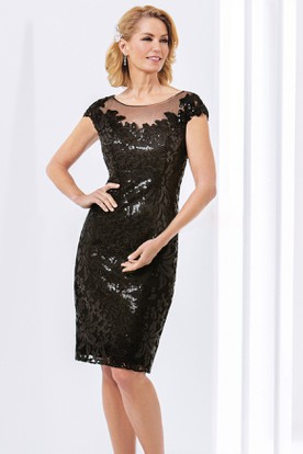 Cap-Sleeved Knee-Length Sheath Mother Of The Bride Dress With Sequins And Illusion Back