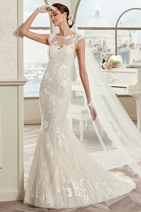 Cap Sleeve Sheath Mermaid Bridal Gown With Illusive Neckline And Open Back