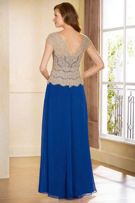 Cap-Sleeved V-Neck Long Chiffon Mother Of The Bride Dress With Lace Bodice