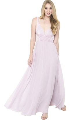 Sleeveless Ruched Strapped Chiffon Muti-Color Convertible Bridesmaid Dress