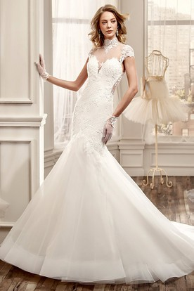 High-Neck Mermaid Wedding Dress with Illusive Back and Appliques