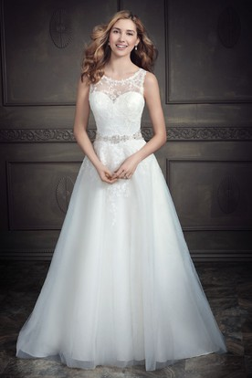 A-Line Appliqued Sleeveless Long Scoop Lace&Satin Wedding Dress With Waist Jewellery And Low-V Back