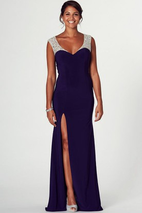 Floor-Length V-Neck Sleeveless Beaded Jersey Prom Dress