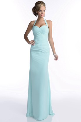 Halter Sheath Sweetheart Chiffon Bridesmaid Dress With Ruched Bodice