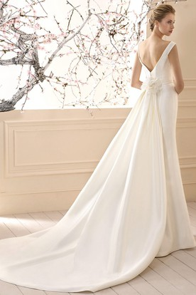 Sheath V-Neck Floral Maxi Satin Wedding Dress
