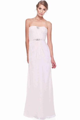 Strapless Ruched Long Chiffon Bridesmaid Dress With Broach