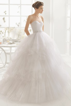 Ball Gown Sweetheart Jeweled Tulle Wedding Dress With Criss Cross And Cascading Ruffles