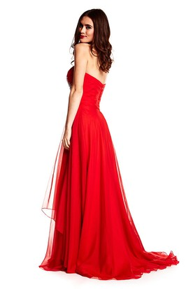 Floor-Length Sleeveless Criss-Cross Sweetheart Chiffon Prom Dress