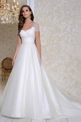 Maxi Square Ruched Short-Sleeve Organza Wedding Dress With Court Train And Keyhole