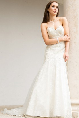Mermaid Maxi Sweetheart Appliqued Sleeveless Lace Wedding Dress
