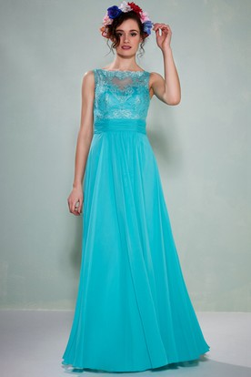 Bateau Neck Appliqued Sleeveless Chiffon Bridesmaid Dress With Illusion Back