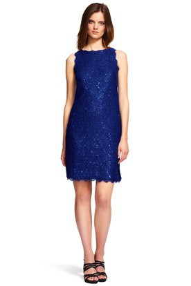 Mini Sequined Sleeveless Jewel Neck Lace Bridesmaid Dress