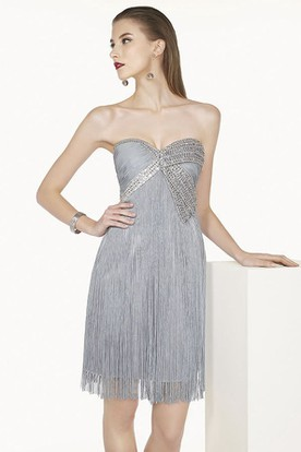 Sweetheart Short Fringe Prom Dress With Sequins Shown In Silver