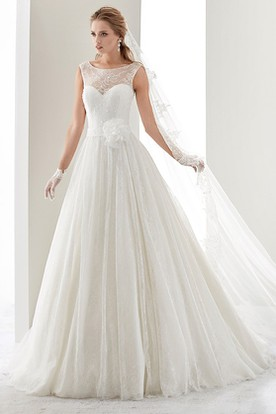 Cap sleeve Illusion Draping Gown with Flower Waist and Jewel Neck