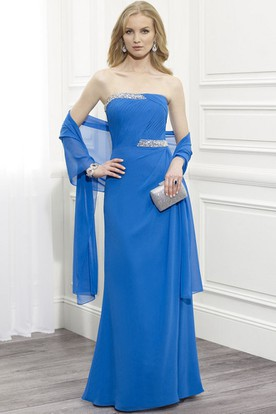 Strapless Ruched Chiffon Mother Of The Bride Dress With Beading And Cape