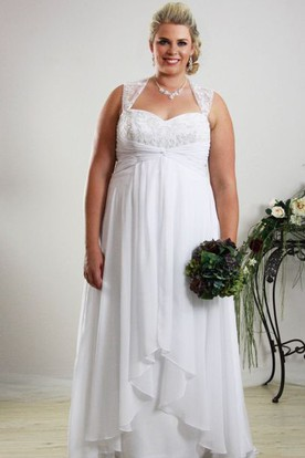 Floor-Length Sleeveless Queen Anne Draped Chiffon Plus Size Wedding Dress With Appliques