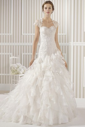 A-Line Long Sweetheart Beaded Organza Wedding Dress With Cascading Ruffles And Appliques