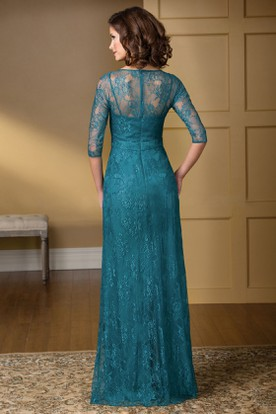 3-4 Sleeved V-Neck Lace Gown With Beadings And Illusion Back