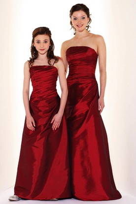 Maxi Strapless Ruched Satin Bridesmaid Dress
