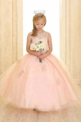 Beaded Tiered Tulle&Lace Flower Girl Dress With Illusion