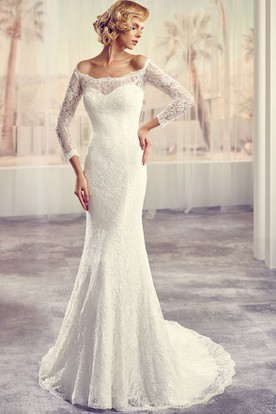 Long Off-The-Shoulder Long-Sleeve Lace Wedding Dress With Court Train And Illusion