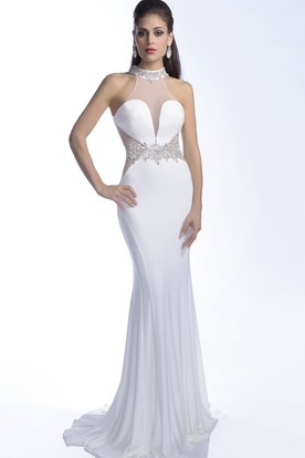 Jersey Mermaid Sleeveless Keyhole Back Prom Dress With Crystal Halter And Waistband