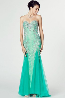 Mermaid Sweetheart Sleeveless Beaded Tulle Prom Dress