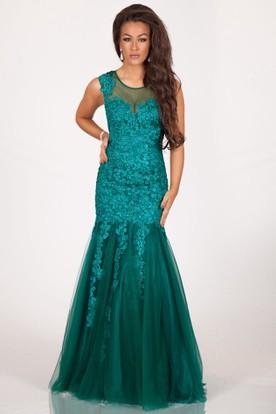 eb36cb6f610 Evening Dresses In Dar Es Salaam. A-Line Floor-Length Appliqued Scoop-Neck  Sleeveless Tulle Prom Dress