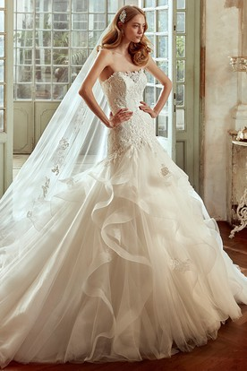 Strapless Ruching Wedding Dress with Cascading Ruffles and lace Corset