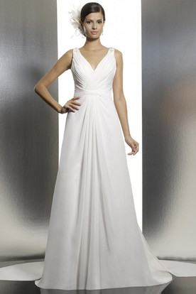 Long V-Neck Ruched Chiffon Wedding Dress With Court Train And Illusion