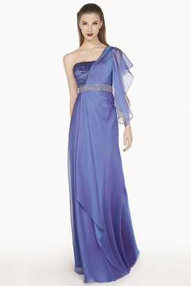 Single Ruffled Sleeve Chiffon Long Prom Dress With Cascading Skirt