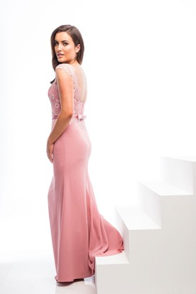 Maxi V-Neck Cap Sleeve Appliqued Chiffon Bridesmaid Dress With Bow And Keyhole