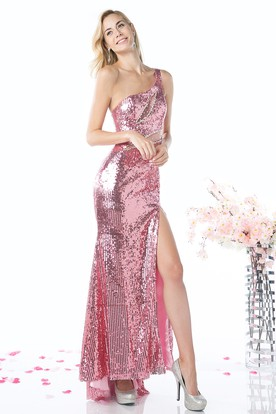 Sheath High-Low One-Shoulder Sleeveless Sequins Dress With Split Front