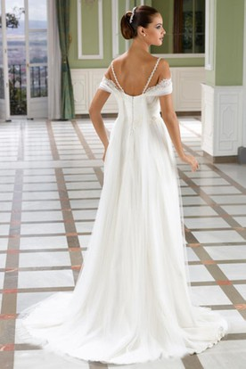 Floor-Length Appliqued Spaghetti Tulle Wedding Dress With Ruching And V Back