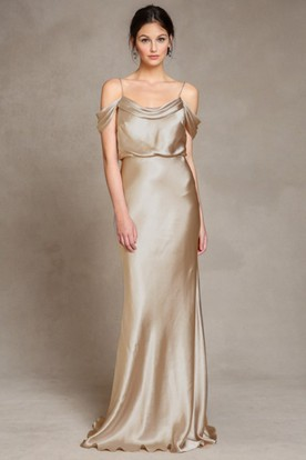 Floor Length Spaghetti Sleeveless Satin Bridesmaid Dress With Low V Back