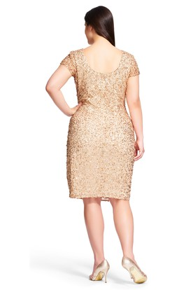 Mermaid Mini Scoop Neck Short Sleeve Sequin Plus Size Bridesmaid Dress