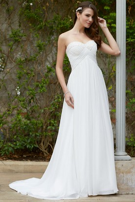 Sweetheart Long Criss-Cross Empire Chiffon Wedding Dress With Court Train
