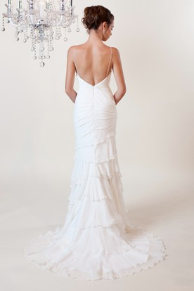 Sheath Spaghetti Sleeveless Floor-Length Beaded Chiffon Wedding Dress With Low-V Back And Tiers